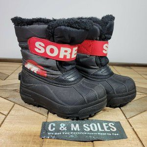 Sorel Toddler Commander Winter Snow Boots Waterproof Insulated Charcoal Red